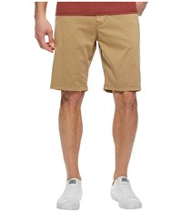 Lucky Brand Stretch Sateen Flat Front Shorts Twill Taupe