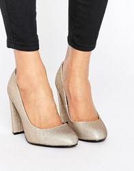 New Look Glitter Block Court Heel Gold