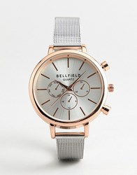 Bellfield Chronograph Watch With Silver Strap And Rose Gold Case