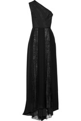 Tamara Mellon One Shoulder Lace Paneled Silk Chiffon Gown Black