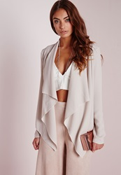 Missguided Waterfall Blazer Stone Grey
