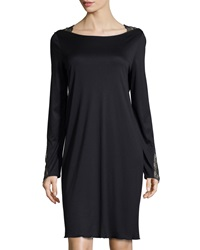 Hanro Constance Lace Trim Long Sleeve Gown Black
