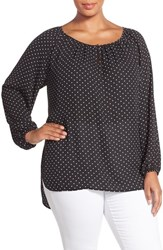 Plus Size Women's Vince Camuto Polka Dot Peasant Blouse