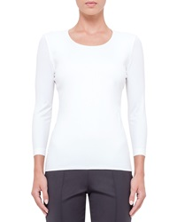 Akris 3 4 Sleeve Round Neck T Shirt Off White