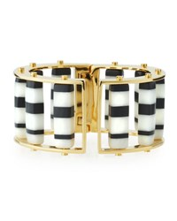 Lele Sadoughi Striped Hinge Barrel Slider Bracelet Black White Black White