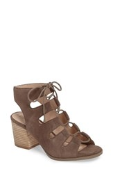Sole Society Women's Rae Block Heel Sandal Grey Suede