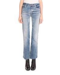 Saint Laurent Cropped Flare Leg Jeans Denim