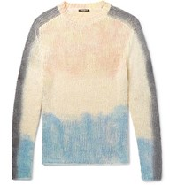 Balmain Slim Fit Tie Dyed Silk And Linen Blend Sweater White