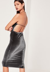 Missguided Velvet Strappy Back Midi Dress Grey