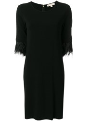 Michael Michael Kors Feather Trimmed Dress Polyester Spandex Elastane Viscose Ostrich Feather Black