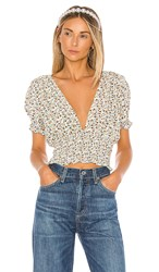 Faithfull The Brand First Light Top In Ivory. Off White And Chestnut Aurelia Floral