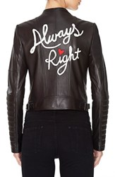 Alice Olivia Women's 'Gamma' Embroidered Leather Jacket
