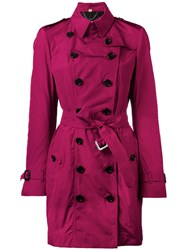 Burberry Double Breasted Trench Coat Pink Purple