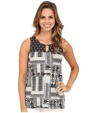 Mod O Doc Aztec Patchwork Printed Slub Jersey Mixed Print Hi Low Hem Tank Top Cinder Women's Sleeveless Gray