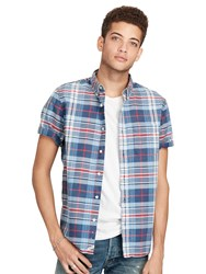 Denim And Supply Ralph Lauren Short Sleeve Pocket Shirt Blue Red Plaid