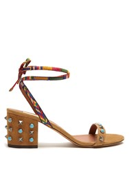 Valentino Rockstud Rolling Suede Sandals Tan