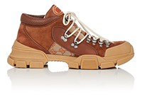Gucci Canvas And Leather Trekking Boots Brown