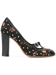 Moschino Vintage Floral Polka Dot Pumps Black