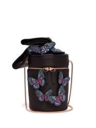 Sophia Webster Bonnie Butterfly Satin Cylinder Bag Black Multi