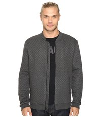 John Varvatos Quilted Long Sleeve Zip Front Knit Jacket W Baseball Collar And Rib Details K2801s3l Charcoal Heather Men's Coat Gray