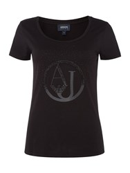 Armani Jeans Short Sleeve Shiny Aj Tee In Black Black