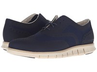 Cole Haan Zerogrand Ox No Stitch Marine Blue Ivory Men's Lace Up Wing Tip Shoes