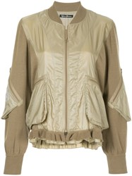 Hysteric Glamour Adios Frill Trim Bomber Jacket Brown