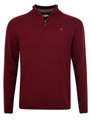 Calvin Klein Superwool Zip Neck Sweater Burgundy
