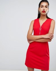 Morgan Zip Front Skater Dress Red