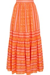 Tory Burch Tiered Printed Cotton Poplin Maxi Skirt Orange