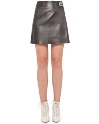 Akris Napa Leather A Line Wrap Miniskirt Black