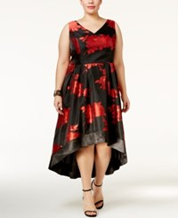 Si Fashions Sl Plus Size Floral High Low Dress Black Red