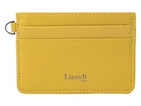 Lipault Paris Plume Elegance Leather Card Holder Mustard Credit Card Wallet Yellow