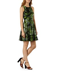 Karen Millen Palm Print Jacquard Dress Green Multi