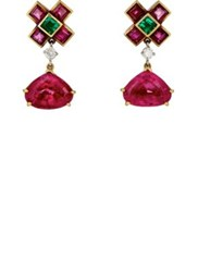 Mahnaz Collection Vintage Women's Multi Gemstone Earrings Pink
