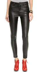 Blank High Rise Vegan Leather Skinny Pants Blacked Out