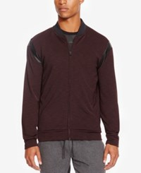 Kenneth Cole Reaction Men's Heathered Jacket With Faux Leather Piecing Plumberry Heather