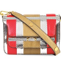 Marni Mini Snake Embossed Leather Trunk Bag Cork Red