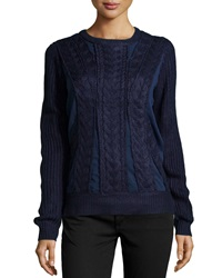 Neiman Marcus Mesh Inset Cable Knit Sweater Navy