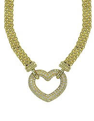 Lord And Taylor Cubic Zirconia Sterling Silver Heart Necklace Gold