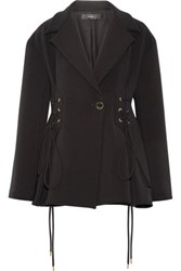 Ellery Battleship Lace Up Twill Jacket Black