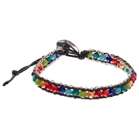 One Button Glass Bead Friendship Bracelet Silver Multi