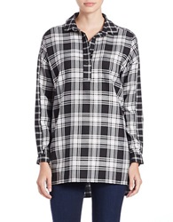 French Connection Lakeside Check Tunic Black White