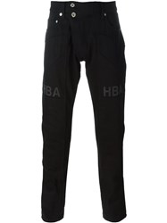 Hood By Air Logo Print Straight Leg Trousers Black