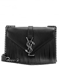 Saint Laurent Classic Monogram Fringed Leather Shoulder Bag Black