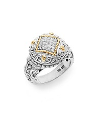 Effy 925 Diamond Sterling Silver And 18K Yellow Gold Filigree Ring Silver Gold