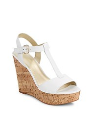 Saks Fifth Avenue Deville Leather Cork Wedge Sandals White