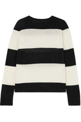 Re Done Striped Wool And Cashmere Blend Sweater Black