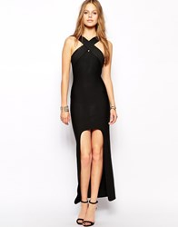Supertrash Domina Maxi Dress With Front Wrap Detail Black