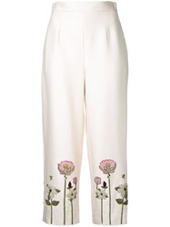 Vilshenko Embroidered Flower Cropped Trousers White